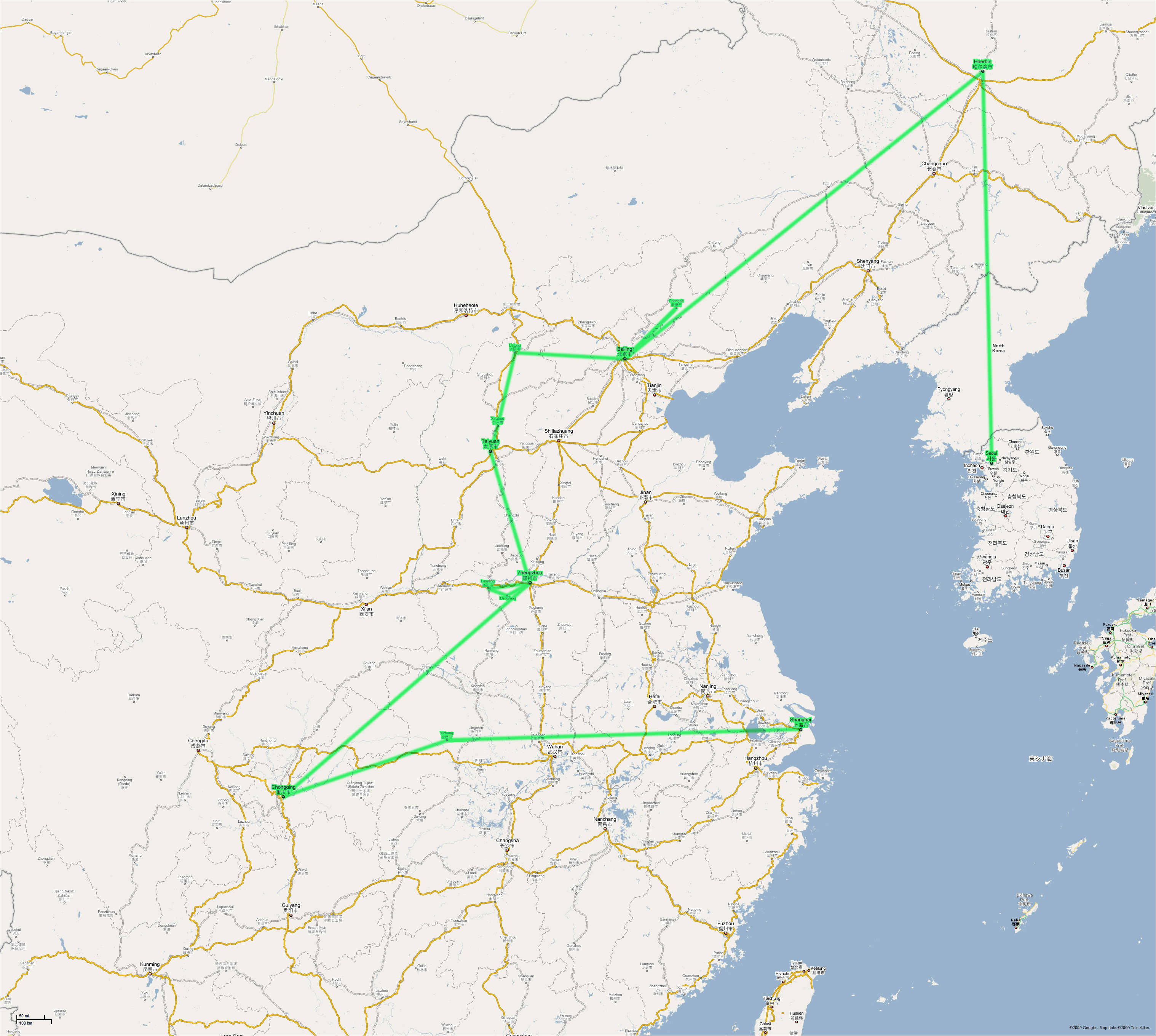 Korea And China Map Sunlight Express Tours