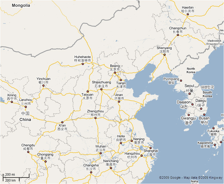 Map Of Korea And China Korea and China Map   Sunlight Express Tours